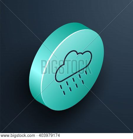 Isometric Line Cloud With Rain Icon Isolated On Black Background. Rain Cloud Precipitation With Rain
