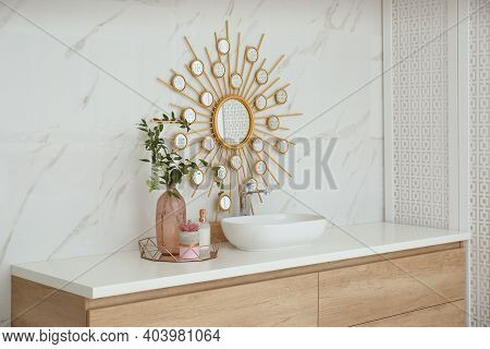 Modern Bathroom Interior With Stylish Mirror And Vessel Sink