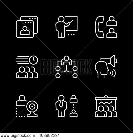 Set Line Icons Of Meeting Isolated On Black. Phone Call, Business Report, Delegation, Webcam Communi