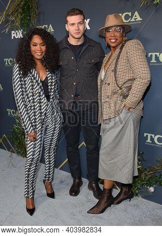LOS ANGELES - FEB 06:  9-1-1 cast memebers, Angela Bassett, Oliver Stark and Aisha Hinds arrives for FOX Winter TCA 2019 on February 06, 2019 in Los Angeles, CA