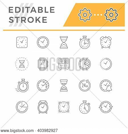 Set Line Icons Of Time Isolated On White. Wrist Watch, Hourglass, Digital And Vintage Alarm, Stopwat