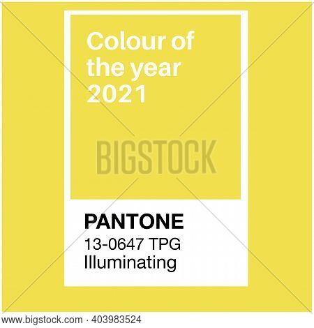 Swindon, Uk - January 19, 2020: Pantone Illuminating Yellow Trending Color Of The Year 2021. Color P