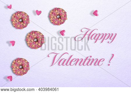 Three Tasty Glazed Pink Doughnuts With Marshmallow Hearts. Few Hearts Are Flying Around Doughnuts. T