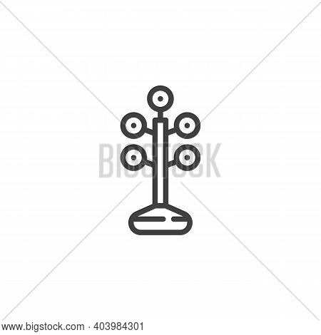 Barbell Plates Rack Line Icon. Linear Style Sign For Mobile Concept And Web Design. Dumbbell Rack Ou