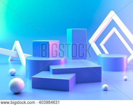 Empty Podium Or Pedestal Display On Colorful Background With Box Stand Concept. Podium For Brand Pro