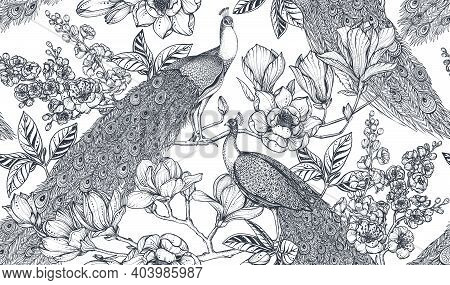 Black And White Vector Seamless Pattern Of Magnolia Flowers, Branches And Peacocks