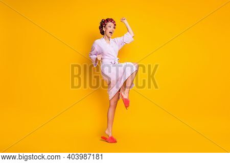 Full Length Body Size View Of Pretty Cheerful Ecstatic Woman Wearing Curlers Celebrating Dancing Iso