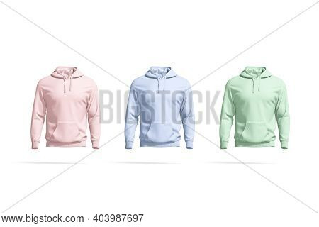 Blank Colored Sport Hoodie With Hood Mockup, Front View, 3d Rendering. Empty Pink, Blue And Green Fl