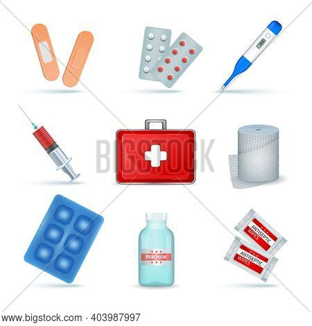First Aid Kit Supply Emergency Medical Products Realistic Set With Elastic Bandage Antiseptic Wipes