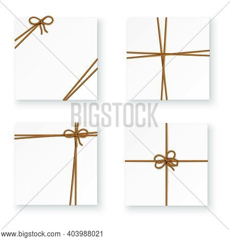 White Parcel Package Box Tying Up Rope Cord Knots 4 Realistic Top View Images Isolated Vector Illust