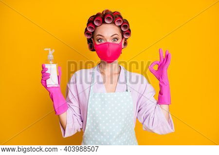 Portrait Of Nice Healthy Housemaid Wearing Textile Mask Using Soap Showing Ok-sign Isolated Bright Y