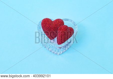 Valentine Day. Red Shiny Hearts On Glass Heart. Valentine's Day. Heart Pendant. Red Heart. Space For
