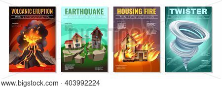Natural Disasters 4 Colorful Posters Set With Earthquake Housing Fire Tornado Twister Volcanic Erupt