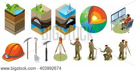 Earth Exploration Isometric Icons, Structure Of Globe, Soil Layers, Scientific Laboratory, Geologica