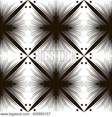Geometric Texture With Square And Shaggy Shapes. Abstract Seamless Pattern Of Many Lines. Black And