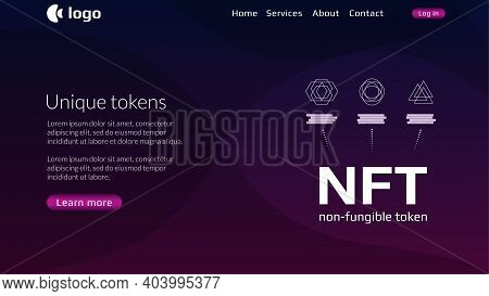 Website Header Template For Nft Nonfungible Tokens With Infographics Unique Coins On Dark Background