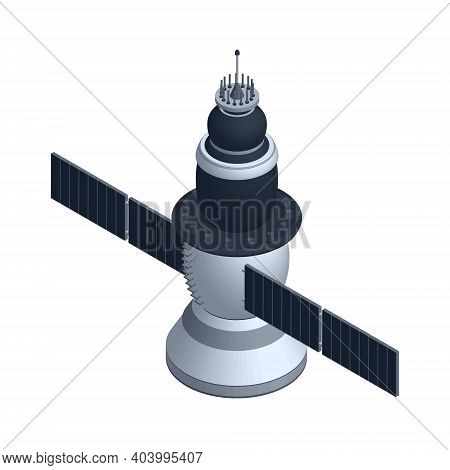 Isometric Space Satellite Isolated On White. 3d Model Of A Spacecraft. Vector Illustration.