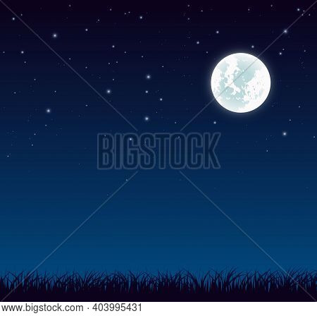 Blue Dark Night Sky With Full Moon And Lot Of Shiny Stars And Grass Ground Silhoutte Background