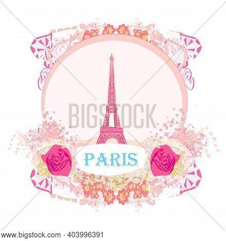 Eiffel Tower Artistic Card, Decorative Floral Frame , Vector Illustration