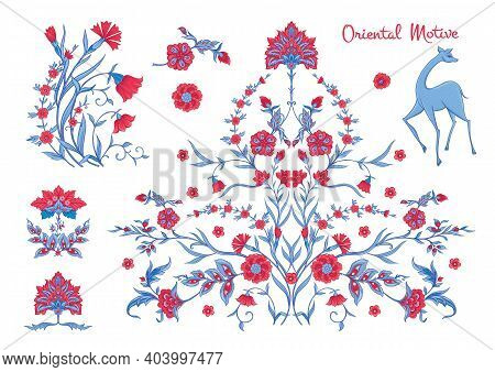 Vector Arabesque Element For Design. Luxurious Ornament In Oriental Style. Traditional Floral Orname