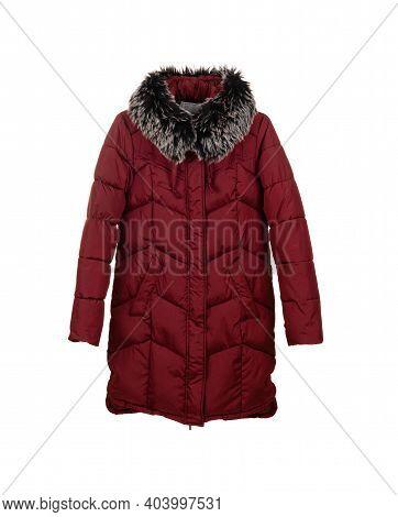 Warm Winter Female Red Jacket Isolated On White Background.