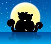 Two cats in moonlight with stars - color illustration. poster