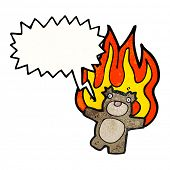 cartoon burning teddy bear poster