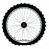 A buckled bicycle wheel and knobly tyre. poster