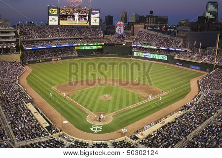 Target Field During A Night Game With The Detroit Tigers