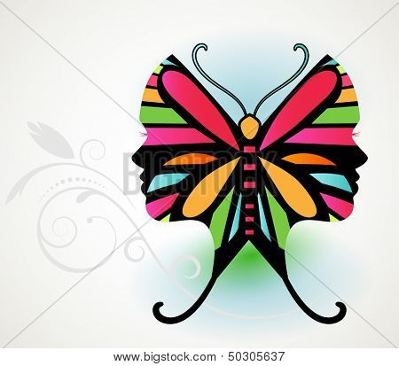 Butterfly illusion  - woman's face in butterfly wing