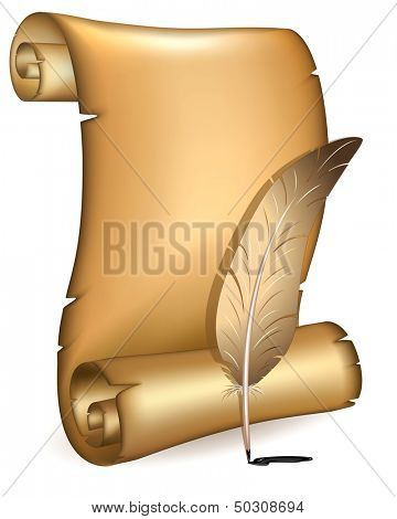 Old paper with feather.Rasterized illustration.