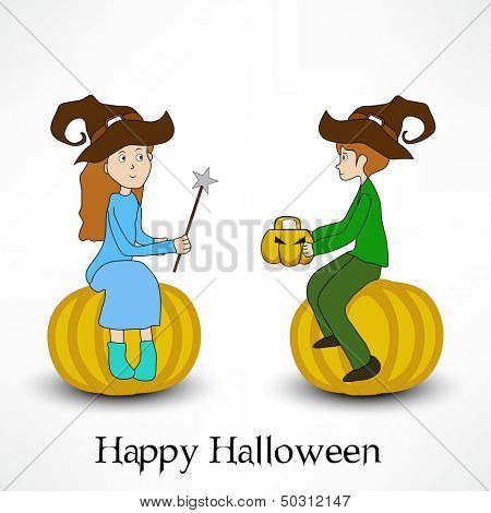 Poster, banner or flyer or Halloween party nights with two little girls in witch hats sitting on pumpkins on abstract grey background.