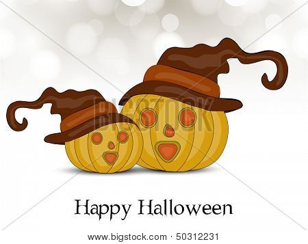 Happy Halloween pumpkins in witch hat on abstract grey background, can be use as flyer, banner or poster for Halloween Party.