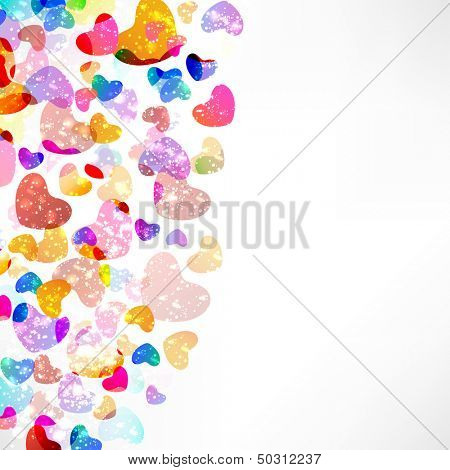 Colorful glossy hearts on abstract grey background.