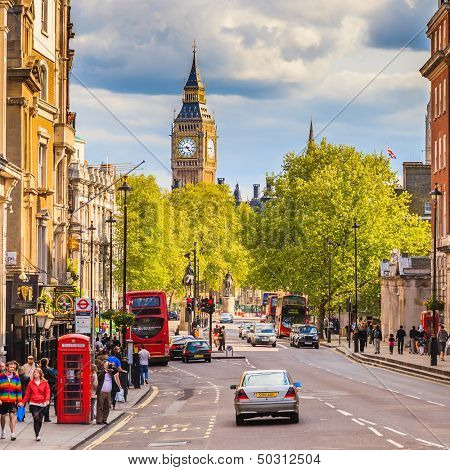 LONDON - MAY 03 2009: Whitehall street with Big Ben in the background on May 03 2009 in London. The street has a total distance of about 1 km.