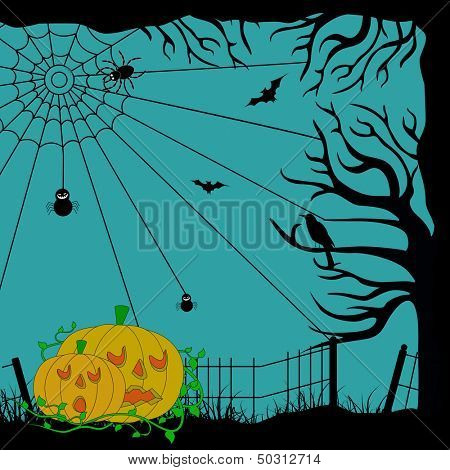 Vintage poster, banner or flyer for Halloween party night with scary pumpkins, dead trees and spiderweb.