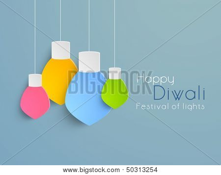 Colorful hanging decorative lights  for Subh Diwali (Happy Diwali) festival celebration in India.  poster