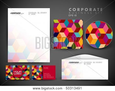 Professional corporate identity kit or business kit with artistic, abstract wave effect for your business includes CD Cover, Business Card, Envelope and Letter Head Designs