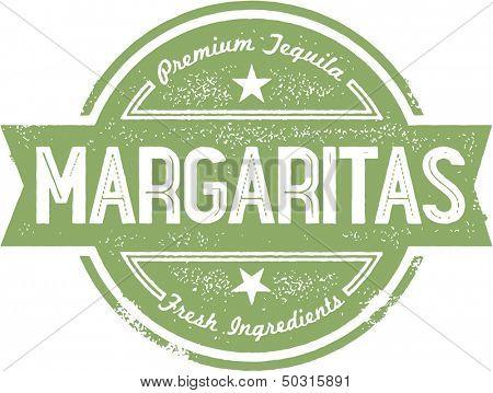 Premium Margaritas Cocktail Bar Menu Stamp