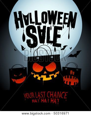 Halloween sale design with scary bags.