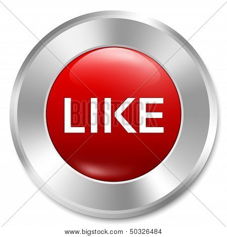 poster of Like button. Rate icon. Vector red round sticker. Metallic icon with gradient. Isolated.