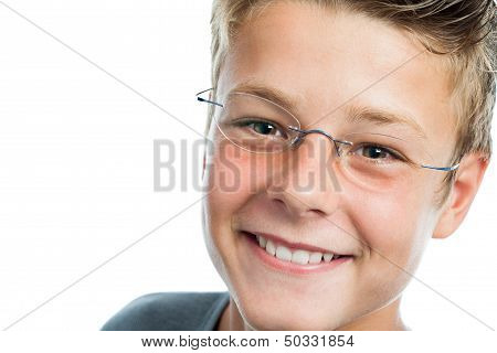 Extreme Close Up Of Boy With Eye Wear.