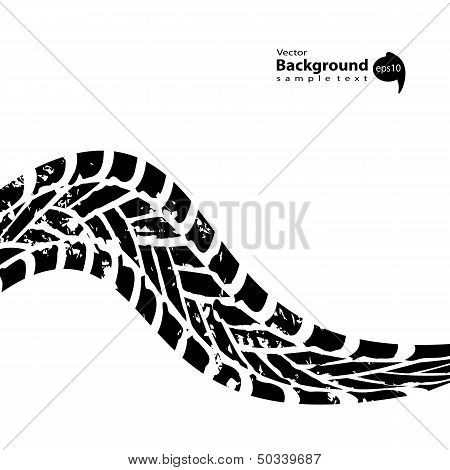 Grunge Black Tire Track On White Background