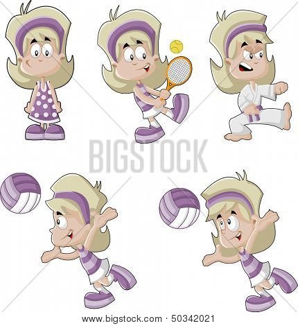 Cute playful cartoon blonde girl playing tennis, volleyball, and fighting karate.