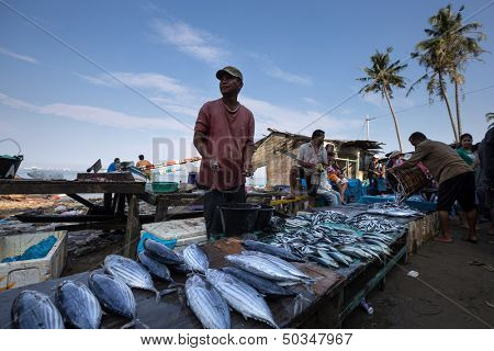 PADANG - AUGUST 25: Fishmonger waits for customers in a stall at an outdoor village market in Padang, West Sumatera, Indonesia on August 25, 2013. Resources from the sea is a major revenue earner.