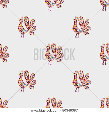 Rooster Mosaic Pattern