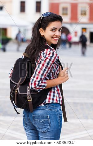 Happy Student With Backpack