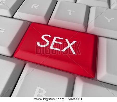 A keyboard with a red key reading Sex poster