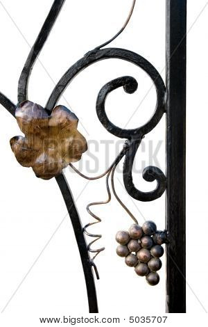 section of decorative black wrought iron