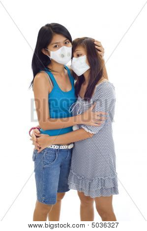 Asian Women With Protective Masks